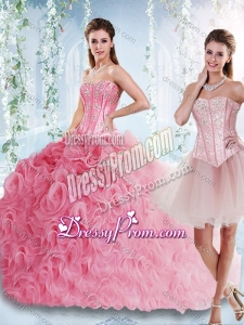 2016 Visible Boning Rolling Flowers Detachable Quinceanera Dress with Beaded Bodice