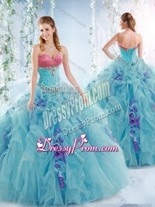 2016 Wonderful Aqua Blue Detachable Quinceanera Dresses with Ruffles and Beading