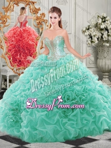 Popular Beaded and Ruffled Aqua Blue Beautiful Quinceanera Dress with Detachable Straps