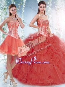 Beautifu Coral Red Detachable Quinceanera Dresses with Beading and Ruffles