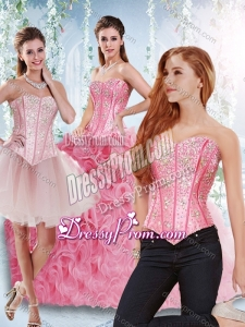Beautiful Rolling Flowers Beaded Bodice Detachable Quinceanera Dresses in Rose Pink
