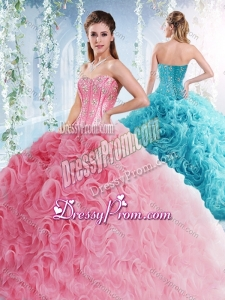 Visible Boning Beaded Bodice Detachable Quinceanera Dresses in Rolling Flowers