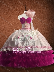 Customized Fuchsia and White Quinceanera Dress with Ruffled Layers and Pattern