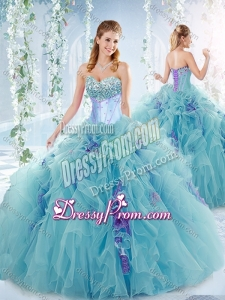 Exquisite Beaded Bust and Ruffled Detachable Quinceanera Dresses in Aqua Blue