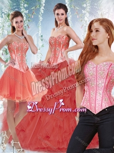 Latest Beaded Bodice and Ruffled Detachable Quinceanera Gowns in Coral Red