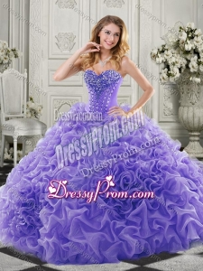 Latest Chapel Train Beaded and Ruffled Quinceanera Gown in Lavender