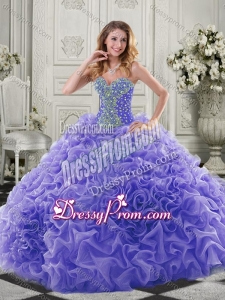 Latest Puffy Skirt Beaded and Ruffled Lavender Quinceanera Dresses in Organza