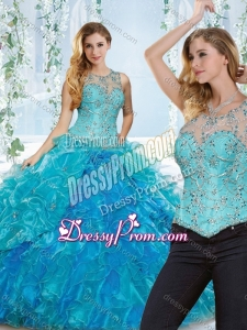 Latest See Through Beaded and Ruffled Detachable Quinceanera Dress in Blue