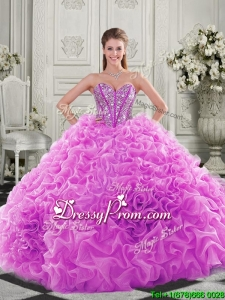 Latest Visible Boning Beaded Bodice Fuchsia Quinceanera Gown with Ruffles