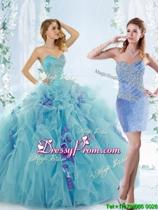 Low Price Aque Blue Detachable Quinceanera Gowns with Beading and Ruffles