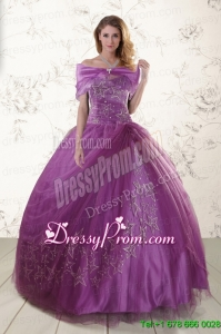 Purple Sweetheart Appliques 2015 Quinceanera Dresses with Embroidery