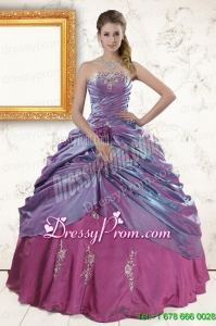 2015 Classic Purple Appliques Quinceanera Dresses with Strapless