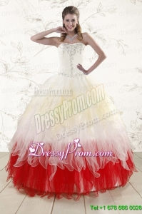 2016 Unique Multi Color Sweetheart Ruffled Quinceanera Dresses wth Beading