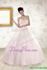 2015 Cheap Light Pink Quinceanera Dresses with Appliques