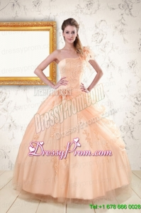 2015 Cheap One Shoulder Appliques Quinceanera Dress in Peach