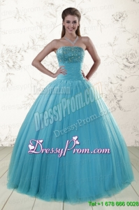 2015 Cheap Sweetheart Baby Blue Quinceanera Dresses with Appliques