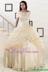 Cheap Appliques 2015 Champagne Quinceanera Dress with Wraps