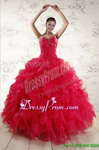 New Style Sweetheart Beading 2015 Quinceanera Dresses in Coral Red