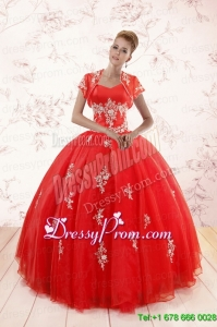 2015 Ball Gown Sweetheart Appliques Quinceanera Dresses with
