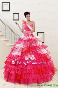 2015 One Shoulder Exclusive Quinceanera Dresses in Multi Color