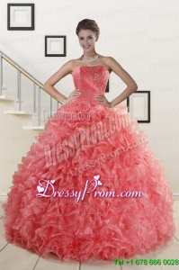 2015 New Arrival Watermelon Red Sweet 15 Dress with Beading