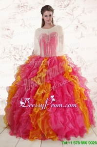Inexpensive Beading Quinceanera Dresses in Multi color