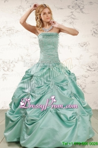 Cheap Turquoise Quinceanera Dresses with Appliques and Pick Ups