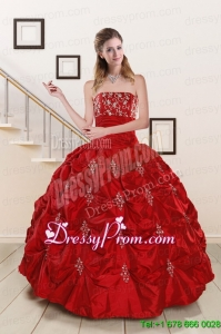 Latest Sweetheart Appiques and Beaded 2015 Quinceanera Dresses in Red