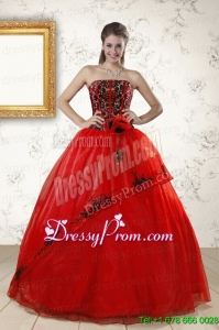 Red Appliques Strapless Quinceanera Dresses for 2015