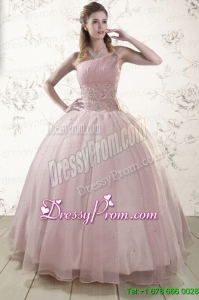 One Shoulder Beading Light Pink Quinceanera Dresses for 2015