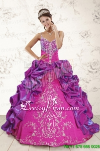 Perfect Ball Gown Embroidery Court Train Quinceanera Dresses in Purple