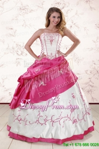 Perfect Embroidery Sweet 15 Dresses in White and Hot Pink