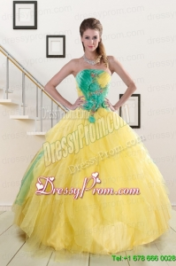 Pretty Multi Color Quinceanera Dresses with Hand Made Flowers