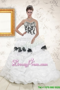 Pretty White Sweet 15 Dresses with Pick Ups and Hand Made Flowers