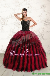 Stylish Sweetheart Ruffles and Beaded Quinceanera Dresses in Red and Black