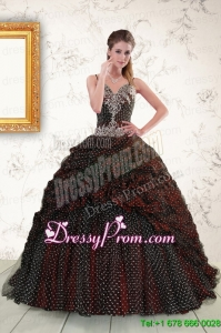 Traditional Spaghetti Straps Burgundy Sweet 15 Dresses with Appliques and Pick Ups