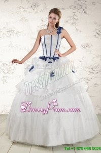 Traditional White One Shoulder Hand Made Flower Quinceanera Dress for 2015