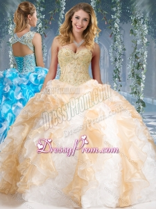 Fashionable Organza and Rolling Flowers Big Puffy Quinceanera Dress in Champagne and White