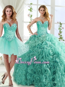 Feminine Visible Boning Beaded Detachable Quinceanera Gowns in Rolling Flowers