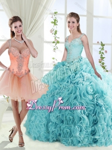 Gorgeous Beaded Straps Detachable Quinceanera Dresses with See Through Back