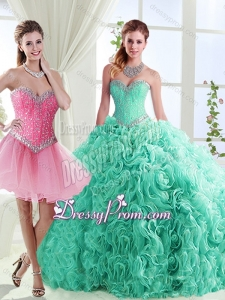 Romantic Rolling Flowers Really Puffy Detachable Sweet 16 Quinceanera Dresses in with Beading