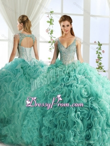 Sexy Deep V Neck Mint Detachable Quinceanera Dresses with Beading and Appliques
