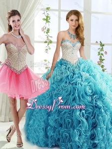 Sophisticated Rolling Flowers Detachable Quinceanera Dresses with Brush Train