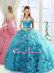 Artistic Rolling Flowers Brush Train Detachable Quinceanera Dresses with Beading