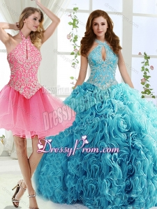 Cut Out Bust Beaded Detachable Quinceanera Skirts in Baby Blue