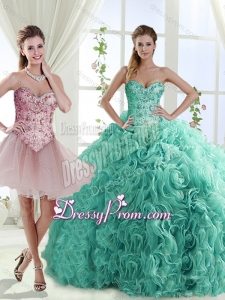 Decent Rolling Flowers Really Puffy Detachable Quinceanera Dresses with Beading