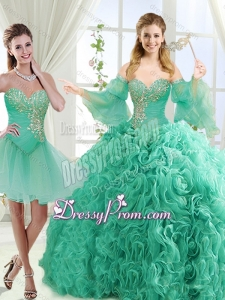 Feminine Beaded Detachable Sweet 16 Quinceanera Skirts in Rolling Flower