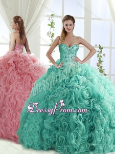 Gorgeous Beaded Brush Train Detachable Sweet 16 Quinceanera Skirts with Rolling Flower