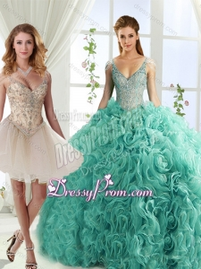 Gorgeous Rolling Flowers Deep V Neck Detachable Sweet 16 Quinceanera Skirts with Cap Sleeves