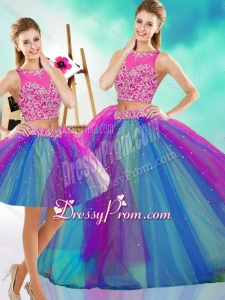 Lovely Beaded Scoop Tulle Detachable Quinceanera Skirts in Rainbow Colored